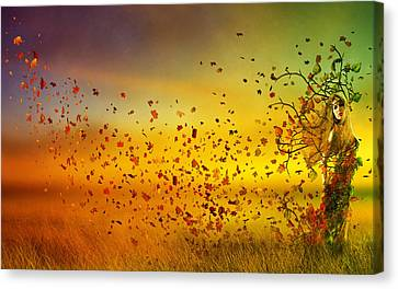 They Call Me Fall Canvas Print by Mary Hood