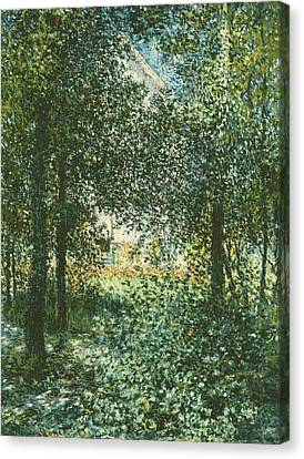 Thicket  The House Of Argenteuil Canvas Print by Claude Monet