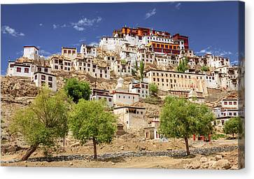 Canvas Print featuring the photograph Thikse Monastery by Alexey Stiop