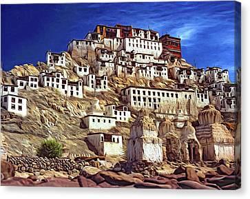 Tibetan Canvas Print - Thiksey Monastery - Paint by Steve Harrington