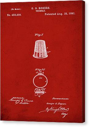 Sepia Chalk Canvas Print - Thimble Patent 1891 In Red by Bill Cannon