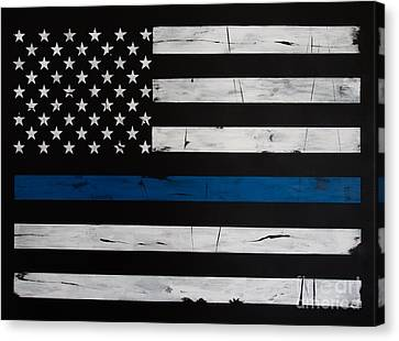 Thin Blue Line Canvas Print by Dominoe Gregor