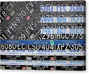 Thin Blue Line Michigan License Plate American Flag Art Canvas Print