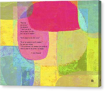 Think How You Love Me Canvas Print by Lisa Weedn