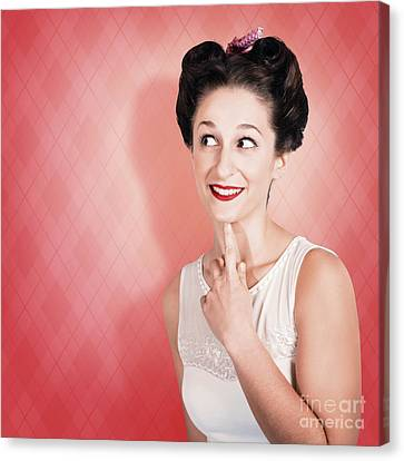 Thinking Fifties Pinup Girl With Old Hairstyle Canvas Print by Jorgo Photography - Wall Art Gallery