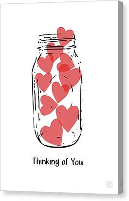 Thinking Of You Jar Of Hearts- Art By Linda Woods Canvas Print