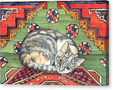 Third Carpet Cat Patch Canvas Print