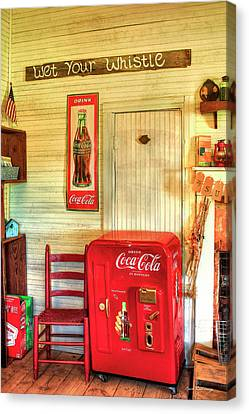 Thirst-quencher Old Coke Machine Canvas Print by Reid Callaway