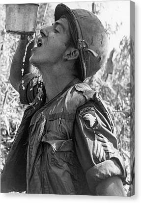 Thirsty Vietnam Soldier Canvas Print by Underwood Archives