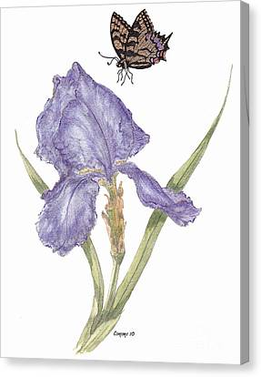 Canvas Print featuring the painting This Great Purple Butterfly by Stanza Widen