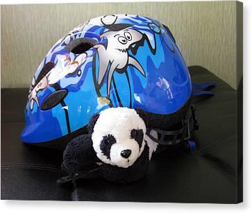 Canvas Print featuring the photograph This Helmet Is So Heavy Ugh by Ausra Huntington nee Paulauskaite