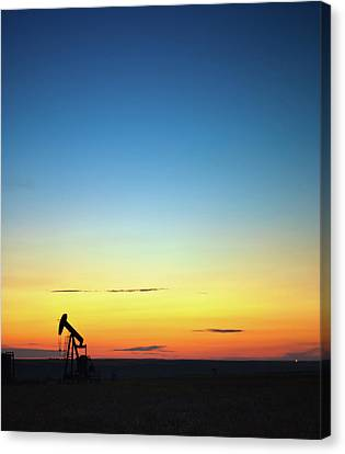 This Is Alberta No.14b - Prairie Oil Sunset Canvas Print by Paul W Sharpe Aka Wizard of Wonders