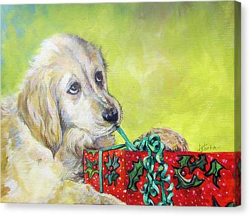 Canvas Print featuring the painting This Is Mine? Right? by Donna Tucker