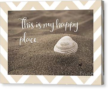 This Is My Happy Place,  Inspirational Beach Quote Canvas Print by Tina Lavoie