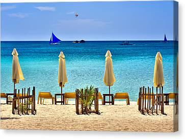 This Is The Philippines No.28 - Beach Scene With Sail Boats Canvas Print by Paul W Sharpe Aka Wizard of Wonders
