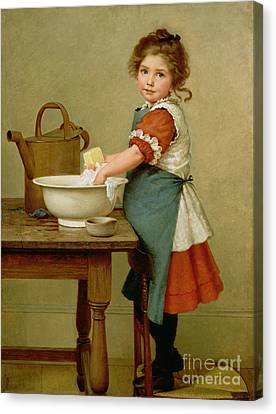 This Is The Way We Wash Our Clothes  Canvas Print by George Dunlop Leslie