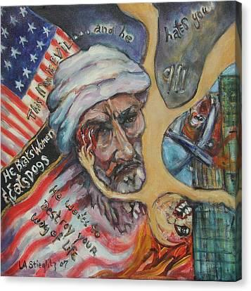 This Man Is Evil Canvas Print by Lee Anne Stieglitz
