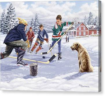 Hockey Canvas Print - This Time For Sure by Richard De Wolfe