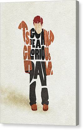 Canvas Print featuring the digital art Thom Yorke Typography Art by Inspirowl Design