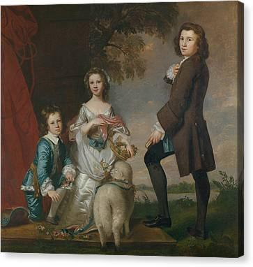 Thomas And Martha Neate With His Tutor, Thomas Needham Canvas Print by Joshua Reynolds