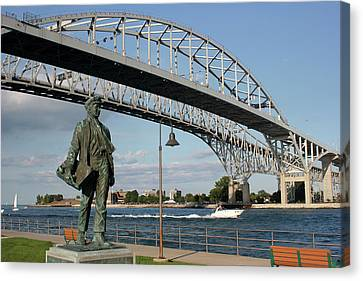 Thomas Edison And Blue Water Bridge 1 Canvas Print