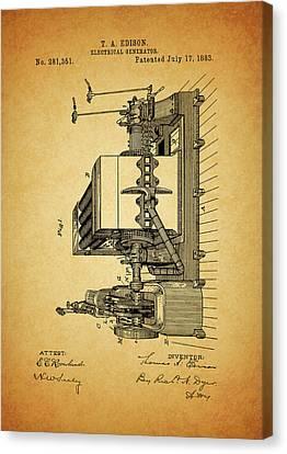 Thomas Edison Generator Patent Canvas Print by Dan Sproul