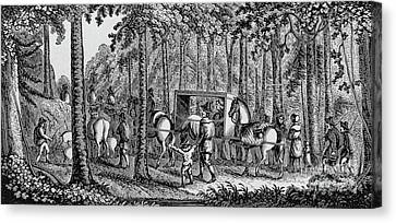 Colonial Man Canvas Print - Thomas Hooker And His Congregation Traveling Through The Wilderness by American School