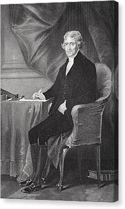 Thomas Jefferson 1743-1826. Third Canvas Print by Vintage Design Pics