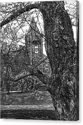 Thompson Hall At Unh Canvas Print by Robert Goudreau