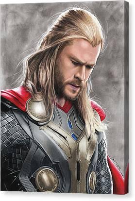 Thor Drawing Canvas Print by Jasmina Susak