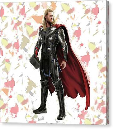 Canvas Print featuring the mixed media Thor Splash Super Hero Series by Movie Poster Prints