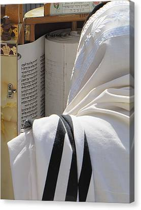 Canvas Print featuring the photograph Thora Reading At The Western Wall by Yoel Koskas