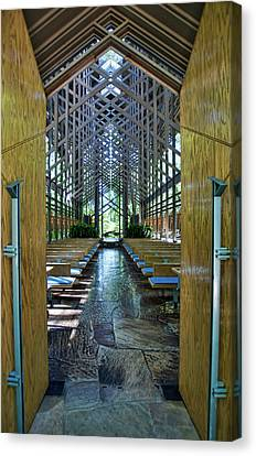 Canvas Print featuring the photograph Thorncrown Chapel Entrance by Cricket Hackmann