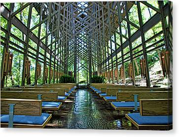 Canvas Print featuring the photograph Thorncrown Chapel Interior by Cricket Hackmann