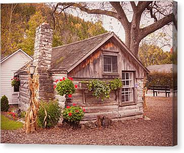 Canvas Print featuring the photograph Thorp Cabin Door County Wisconsin by Heidi Hermes