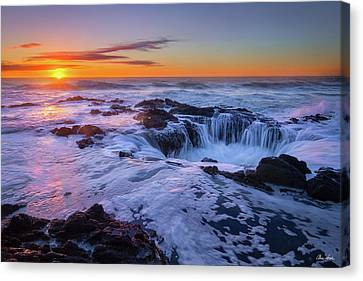 Thor's Well At Sunset Canvas Print