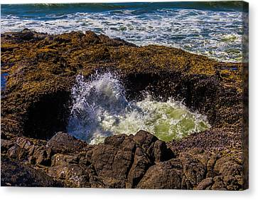 Thor's Well Sunken Cave Canvas Print by Garry Gay