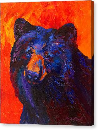 Thoughtful - Black Bear Canvas Print by Marion Rose