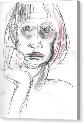 Canvas Print featuring the drawing Thoughtful - A Selfie by Carolyn Weltman