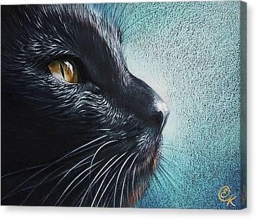 Thoughtful Cat Canvas Print by Elena Kolotusha