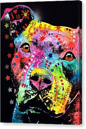 Thoughtful Pitbull I Heart U Canvas Print