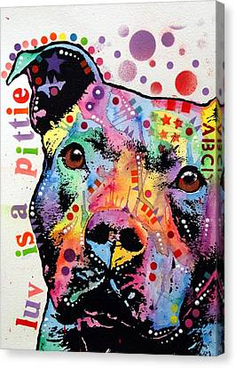 Thoughtful Pitbull Luv Is A Pittie Canvas Print by Dean Russo