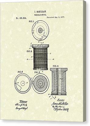 Thread Spool 1877 Patent Art Canvas Print by Prior Art Design