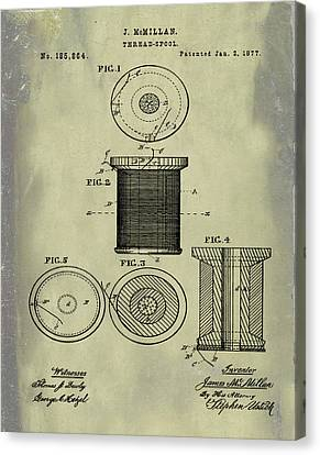 Sepia Chalk Canvas Print - Thread Spool Patent 1877 Weathered by Bill Cannon