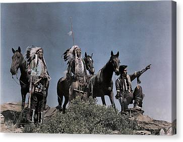 Three American Indians On The Crow Canvas Print by Edwin L. Wisherd