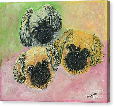 Canvas Print featuring the painting Three Amigos by Ania M Milo