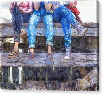 Pier Canvas Print - Three Amigos by Edward Fielding