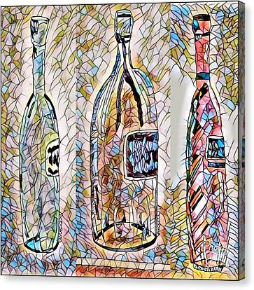 Wine Time Bottles - Stained Glass Canvas Print
