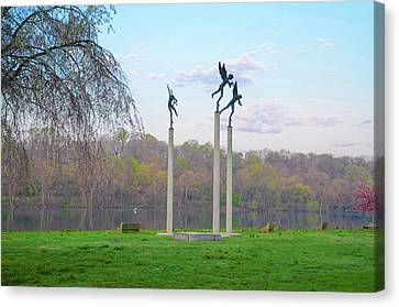Canvas Print featuring the photograph Three Angels In Spring - Kelly Drive Philadelphia by Bill Cannon