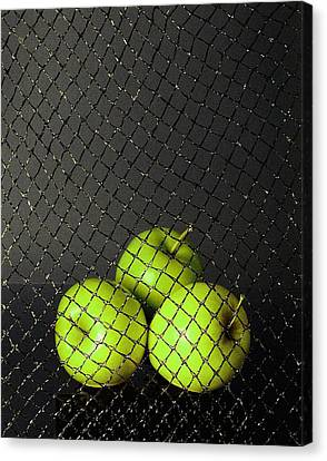 Canvas Print featuring the photograph Three Apples by Viktor Savchenko